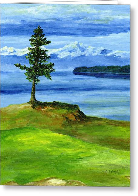 Us Open Golf Paintings Greeting Cards - 16th Hole Greeting Card by Carlene Salazar