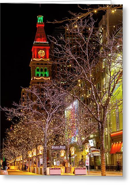 16th Street Mall Denver Co Holiday Lights Greeting Card by Teri Virbickis