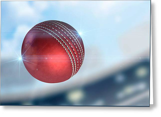 Cricket Greeting Cards - Ball Flying Through The Air Greeting Card by Allan Swart