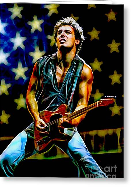 Born To Run Greeting Cards - Bruce Springsteen Collection Greeting Card by Marvin Blaine