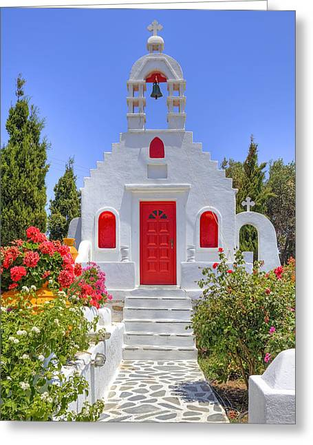Clock Greeting Cards - Mykonos Greeting Card by Joana Kruse
