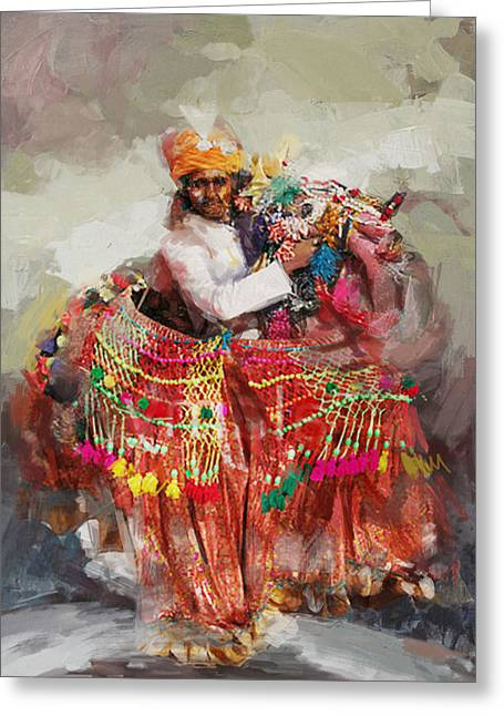Decorated Greeting Cards - 17 pakistan folk Punjab B Greeting Card by Mahnoor Shah
