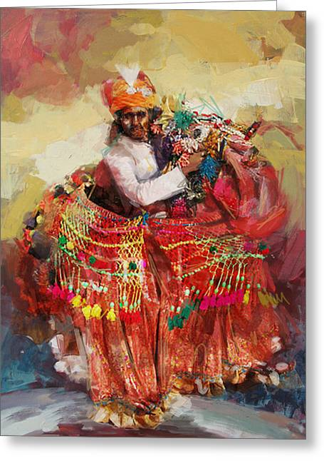 South East Asian Greeting Cards - 17 pakistan folk Punjab Greeting Card by Mahnoor Shah