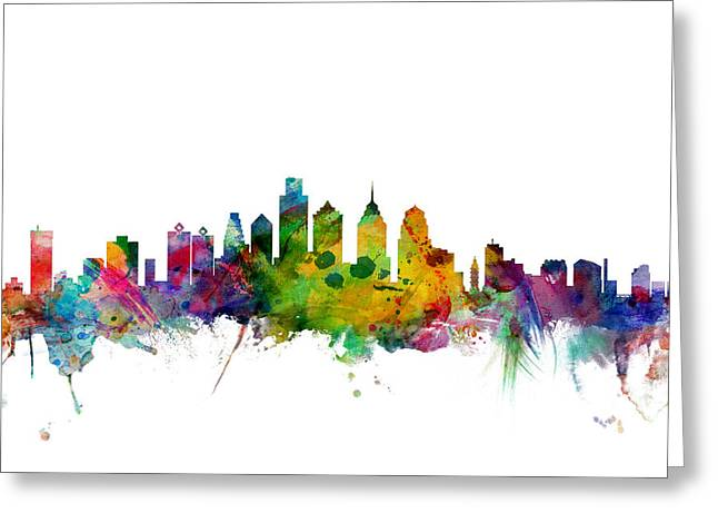 Philadelphia Pennsylvania Skyline Greeting Card by Michael Tompsett