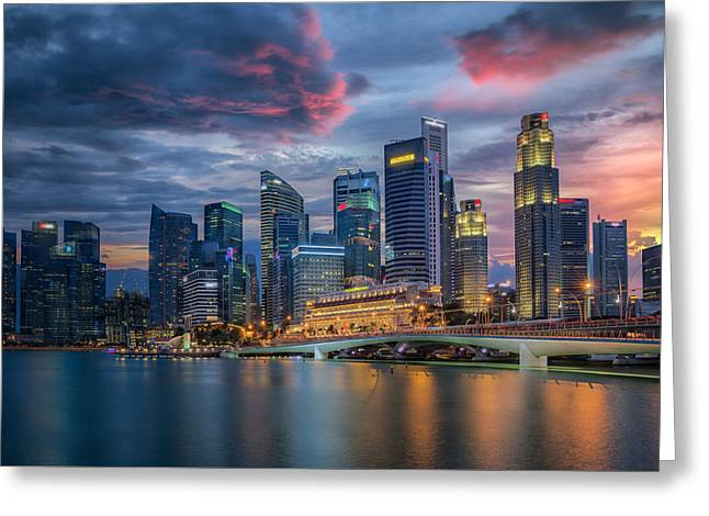 Bund Greeting Cards - Singapore city Greeting Card by Anek Suwannaphoom