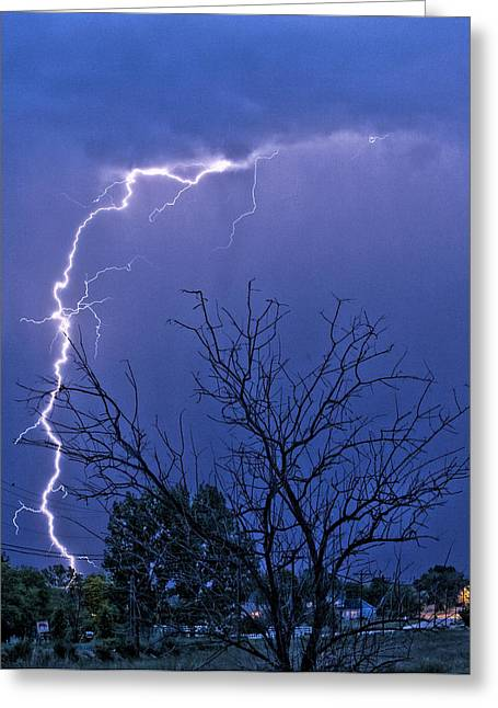 Images Lightning Greeting Cards - 17 Street to Hygiene Lightning Strike. Greeting Card by James BO  Insogna