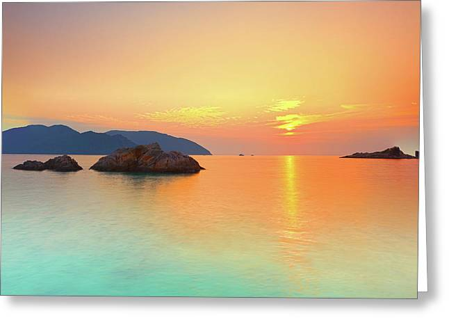 Recently Sold -  - Ocean. Reflection Greeting Cards - Sunrise Greeting Card by MotHaiBaPhoto Prints