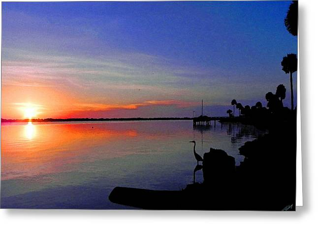 Surfing Art Mixed Media Greeting Cards - Sunrise / sunset / Indian River Greeting Card by W Gilroy