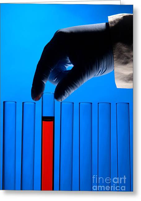 Chemist Greeting Cards - Test Tubes in Science Research Lab Greeting Card by Olivier Le Queinec