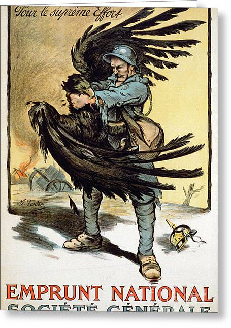 Strangling Greeting Cards - World War I: French Poster Greeting Card by Granger