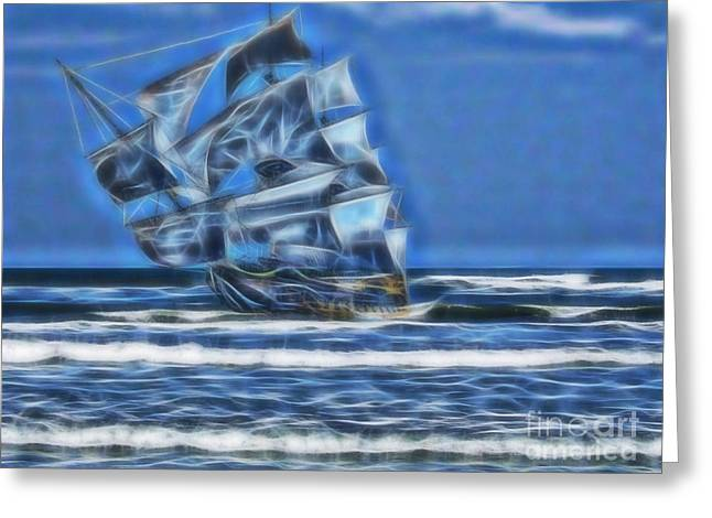 1715 Ghost Ship Greeting Card by D Hackett