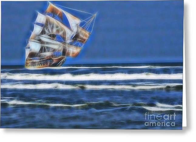 1715 Ghost Treasure Ship Greeting Card by D Hackett