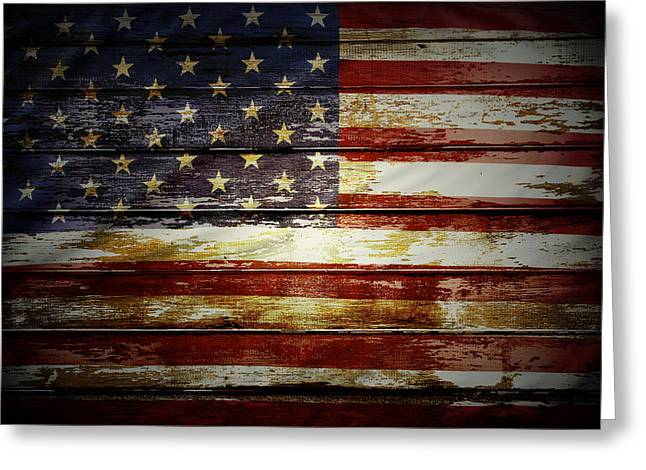 Paint Photograph Greeting Cards - American flag Greeting Card by Les Cunliffe