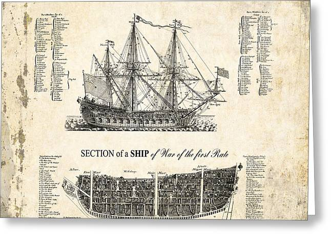 Masts Greeting Cards - 1728 Illustrated British War Ship Greeting Card by Daniel Hagerman