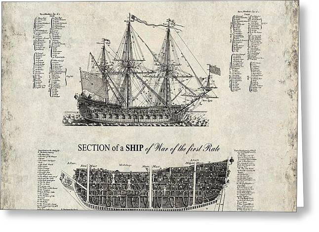 Pirate Ship Greeting Cards - 1728 SHIP of WAR ILLUSTRATION Greeting Card by Daniel Hagerman