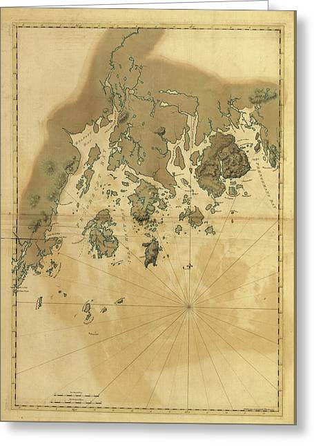 1776 Maine Coast Map Greeting Card by Dan Sproul