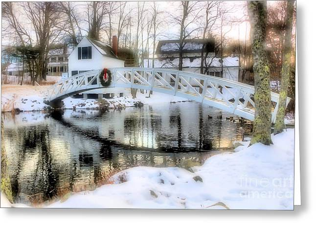1780 Somesville Selectman's Building And Bridge  Greeting Card by Elizabeth Dow