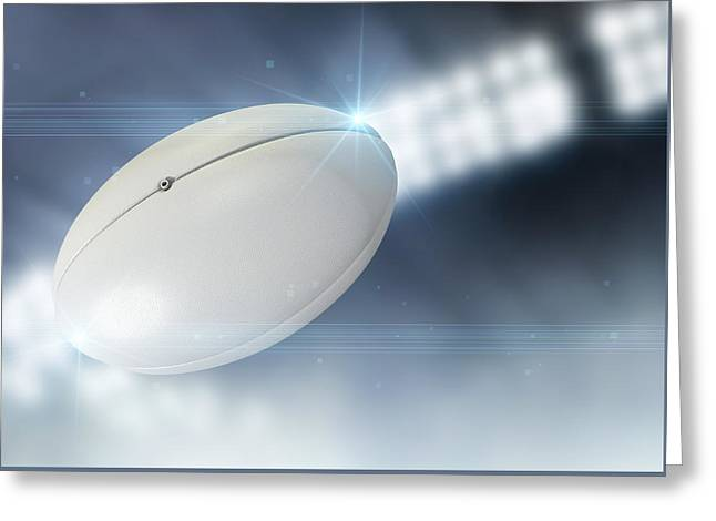 Rugby Greeting Cards - Ball Flying Through The Air Greeting Card by Allan Swart