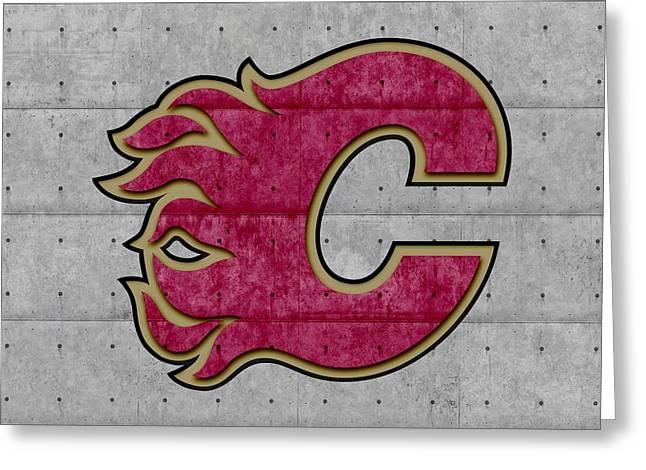 Ice-skating Greeting Cards - Calgary Flames Greeting Card by Joe Hamilton