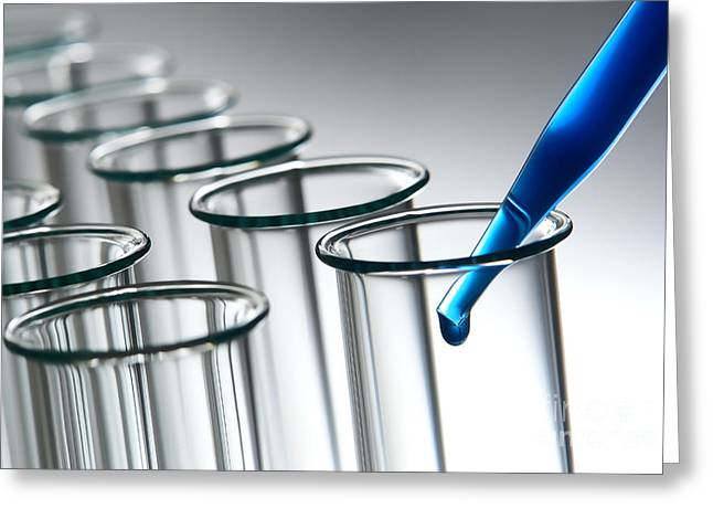 Experiment Greeting Cards - Laboratory Test Tubes in Science Research Lab Greeting Card by Olivier Le Queinec