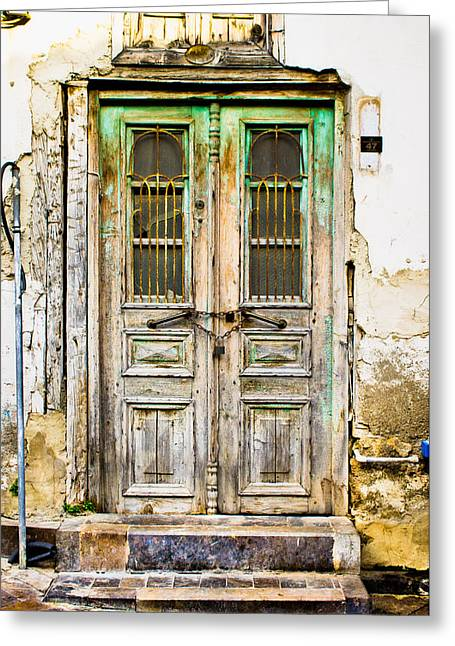 Abandoned House Greeting Cards - Old door Greeting Card by Tom Gowanlock