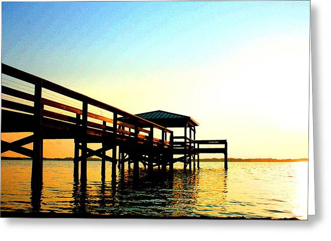 Surfer Art Greeting Cards - Sunrise / sunset / Indian River Greeting Card by W Gilroy