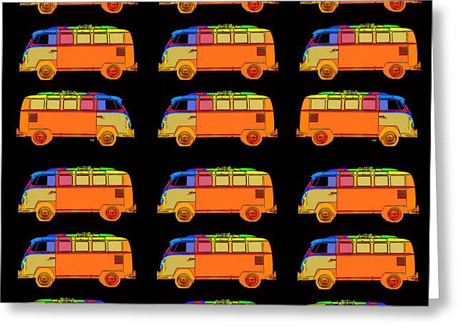 Surfing Art Greeting Cards - 18 Surfer Vans Greeting Card by Edward Fielding