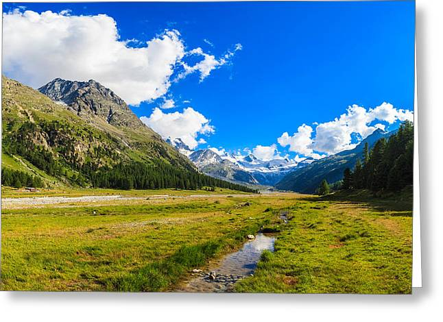 Blue Green Water Greeting Cards - Swiss Mountains Greeting Card by Raul Rodriguez