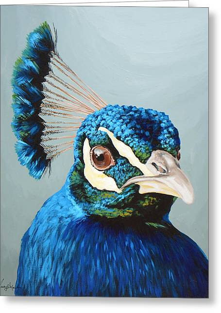 Peacock Greeting Card by Lesley Alexander