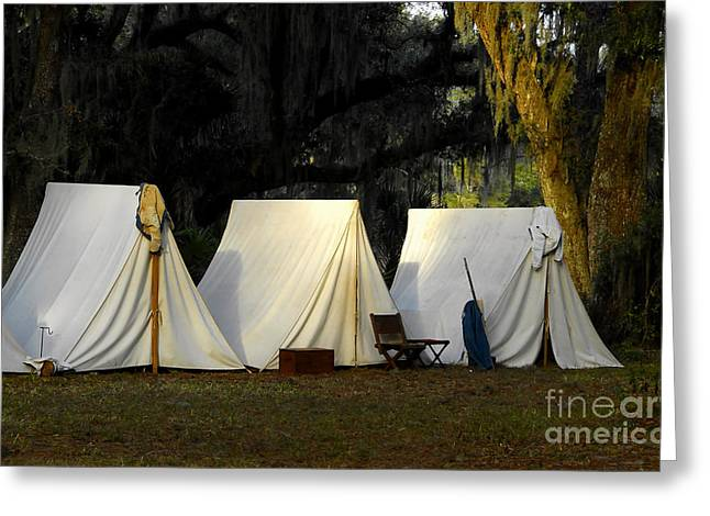 Historic Battle Site Greeting Cards - 1800s Army Tents Greeting Card by David Lee Thompson