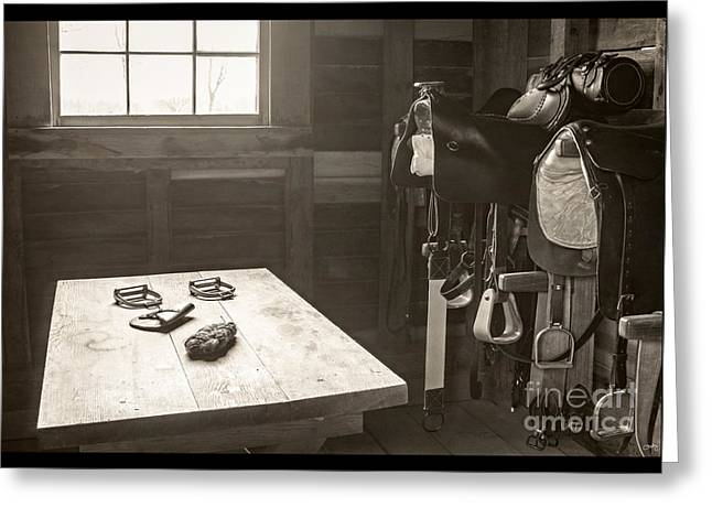 Straps Greeting Cards - 1800s Tack Room Greeting Card by Imagery by Charly