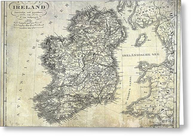 Ireland Photographs Greeting Cards - 1841 Ireland Map Greeting Card by Jon Neidert