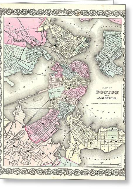 1855 Plan Or Map Of Boston Greeting Card by Celestial Images
