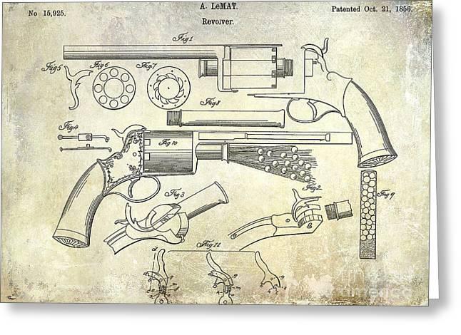 1856 Revolver Patent Greeting Card by Jon Neidert