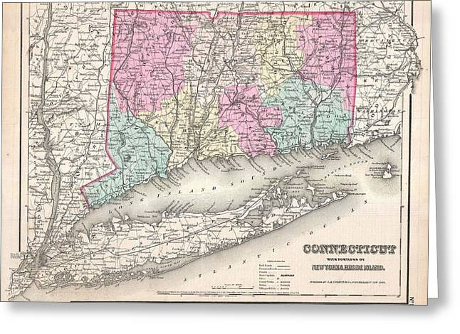 Antique Map Paintings Greeting Cards - 1857 Colton Map of Connecticut and Long Island Greeting Card by Celestial Images