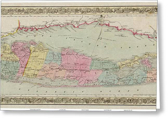 Antique Map Paintings Greeting Cards - 1857 Travellers Map of Long Island Greeting Card by Celestial Images