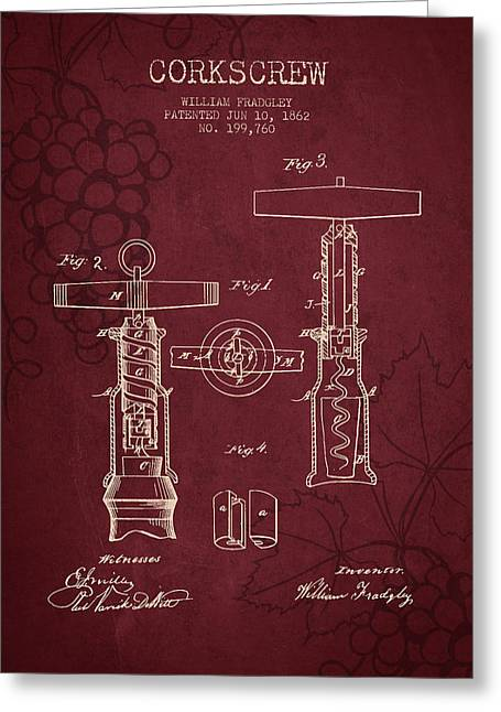 Cabernet Greeting Cards - 1862 Corkscrew patent - Red Wine Greeting Card by Aged Pixel