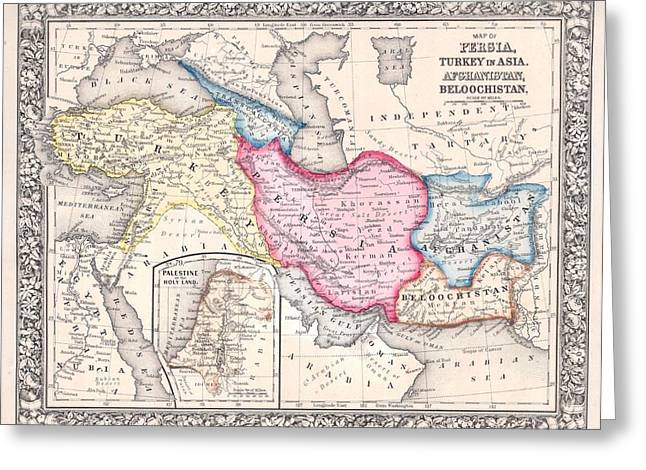 Iraq Drawings Greeting Cards - 1864 Map of Persia Turkey and Afghanistan Iran Iraq Greeting Card by Celestial Images