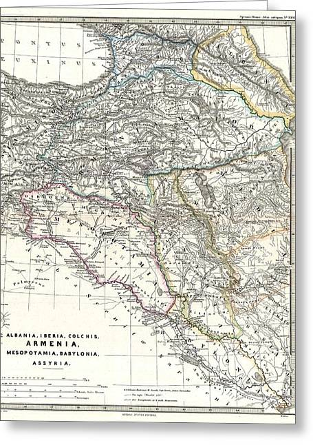 Iraq Drawings Greeting Cards - 1865 Map of the Caucasus and Iraq in Antiquity Greeting Card by Celestial Images