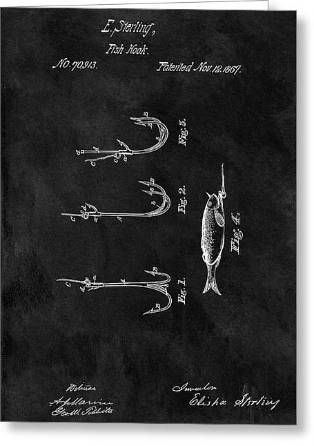1867 Fishing Lure Patent Greeting Card by Dan Sproul
