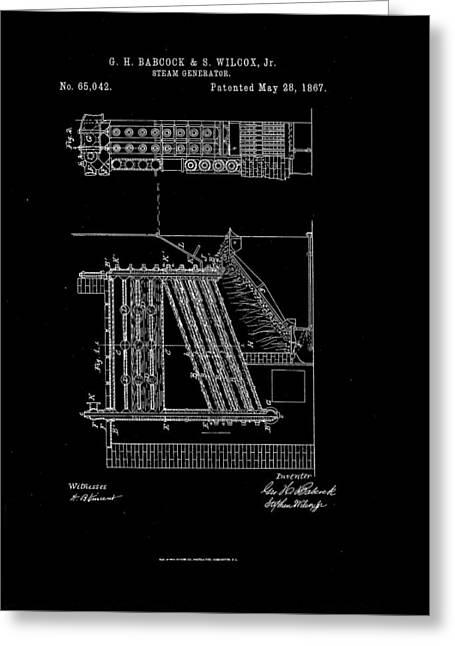Generators Drawings Greeting Cards - 1867 Steam Generator Patent Drawing Greeting Card by Steve Kearns