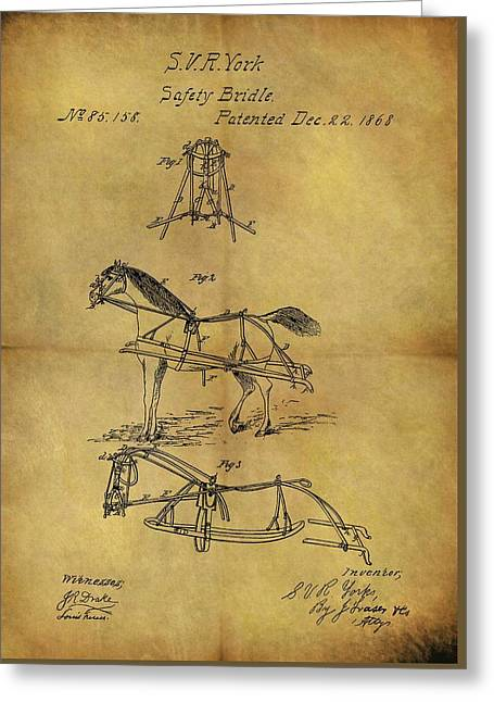 1868 Horse Bridle Patent Greeting Card by Dan Sproul