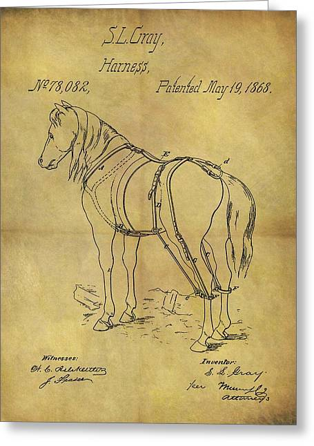 1868 Horse Harness Patent Greeting Card by Dan Sproul