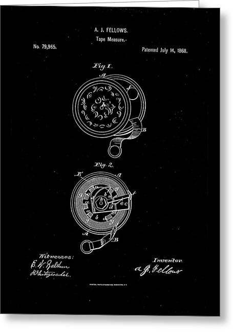 Hardware Drawings Greeting Cards - 1868 Tape Measure Patent Drawing Greeting Card by Steve Kearns