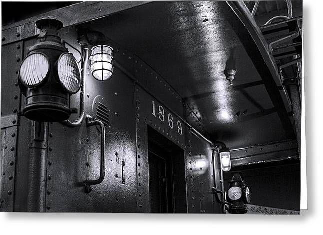 Night Lamp Greeting Cards - 1869 Caboose bw Greeting Card by Denise Dube