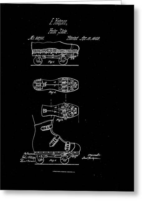 Antique Skates Greeting Cards - 1869 Parlor skate Patent Drawing Greeting Card by Steve Kearns
