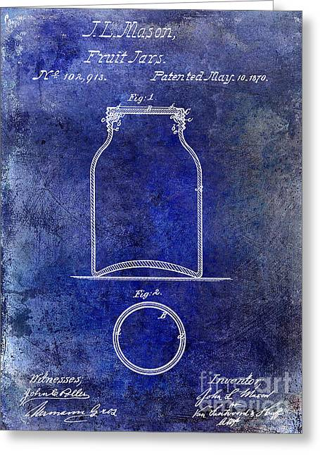 Mason Jar Greeting Cards - 1870 Mason Jar Patent Blue Greeting Card by Jon Neidert