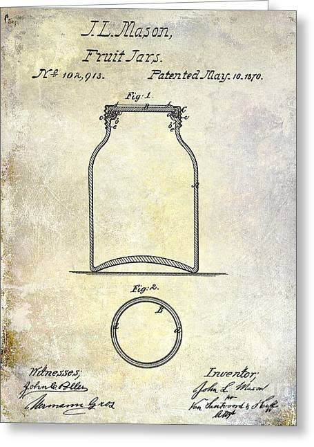Tennesee Greeting Cards - 1870 Mason Jar Patent Greeting Card by Jon Neidert