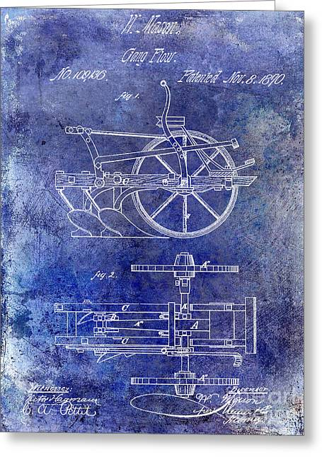 Plow Greeting Cards - 1870 Plow Patent Blue Greeting Card by Jon Neidert