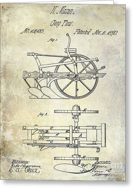 Plows Greeting Cards - 1870 Plow Patent Greeting Card by Jon Neidert